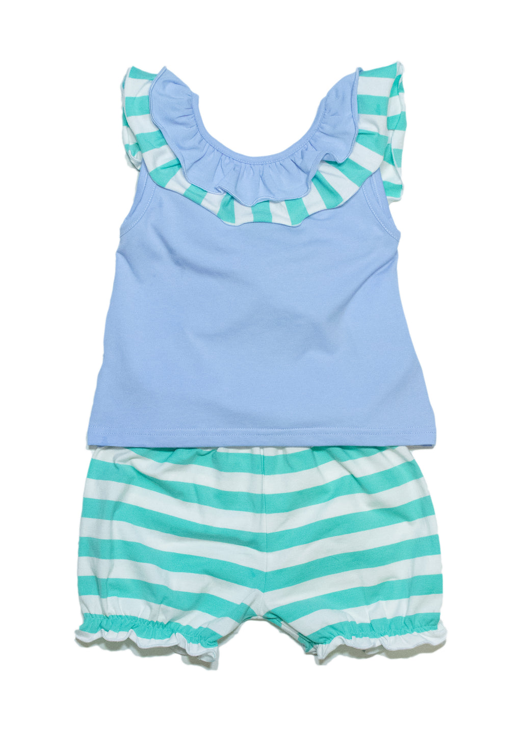 Girls Knit Blue/Mint Stripe Bloomer Set