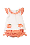 Girls Pumpkin Applique Diaper Set