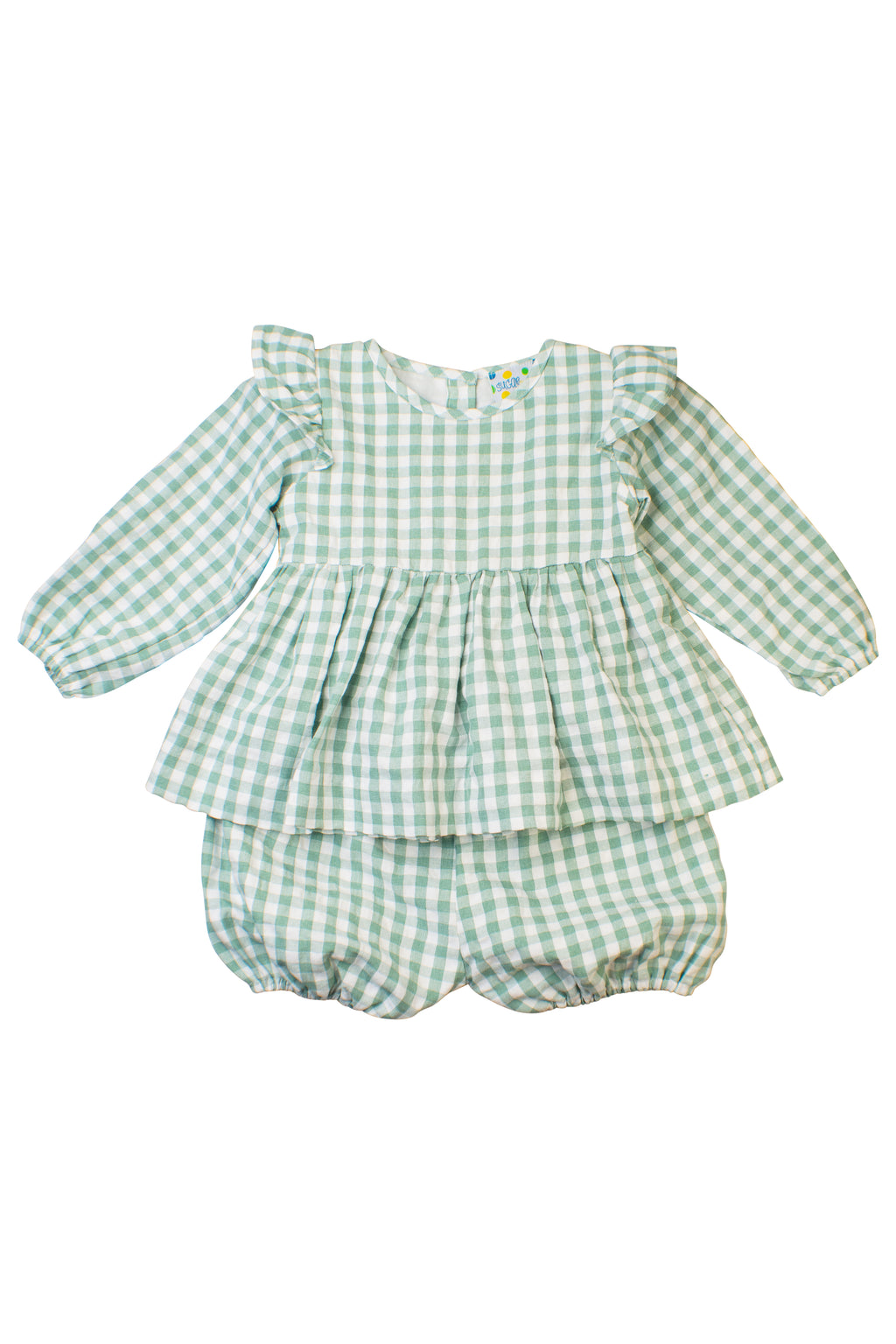 Girls Sage Classic Check Bloomer Shorts Set