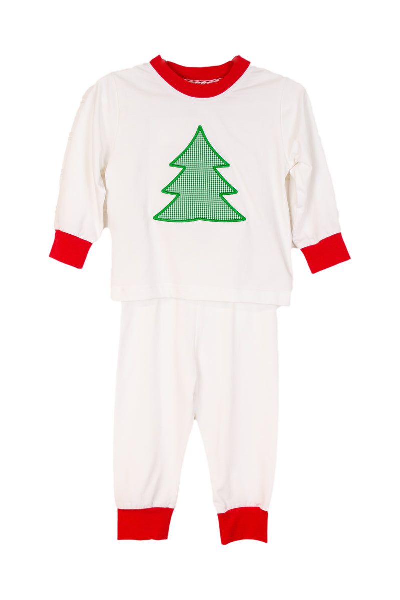 Boys Knit White Christmas Tree Applique Pajamas