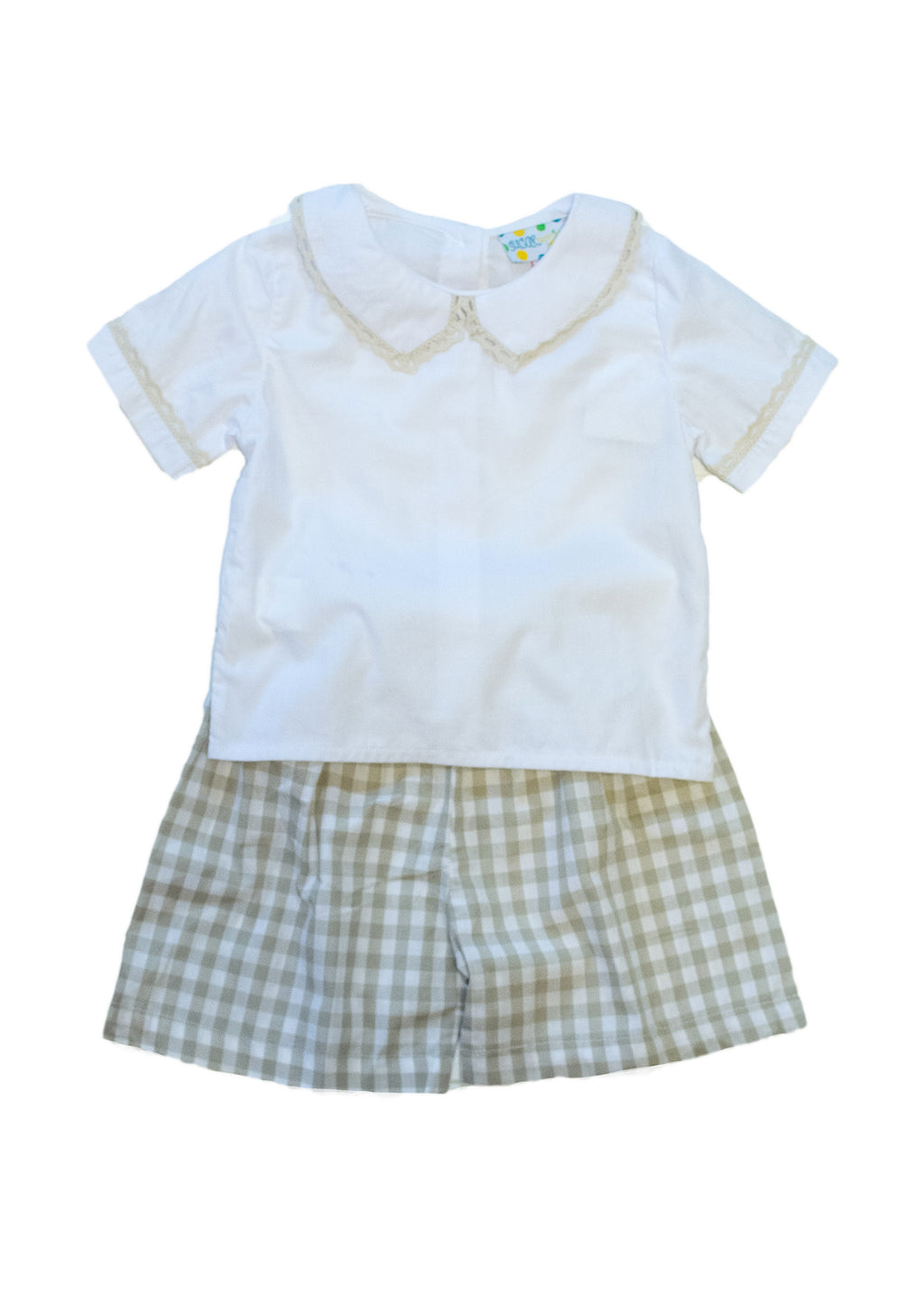 Boys White Crochet Collared/Tan Check Short Set