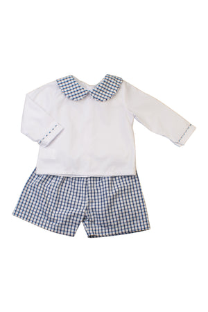 Boys Navy Windowpane Long Sleeve Short Set