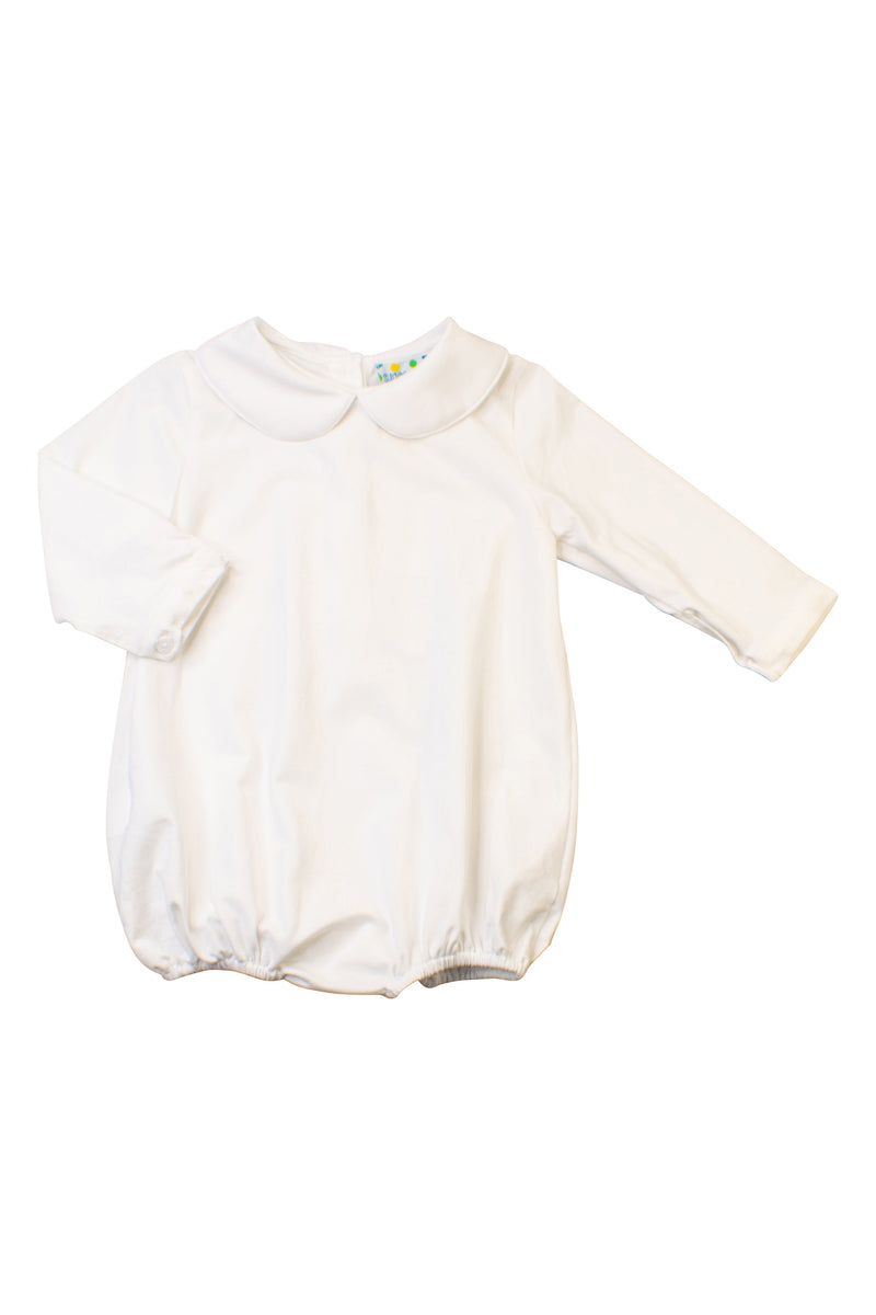 Boys White Long Sleeve Bubble (Woven Cotton)