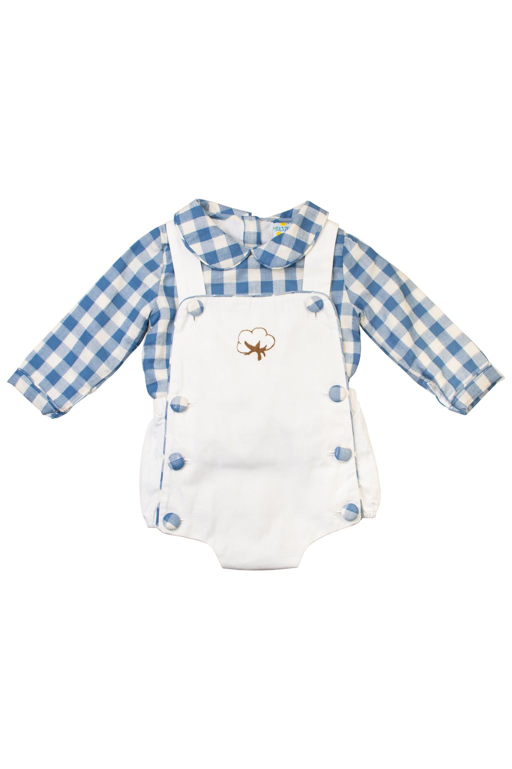 Boys Cotton Embroidered Long Sleeve Bubble Set