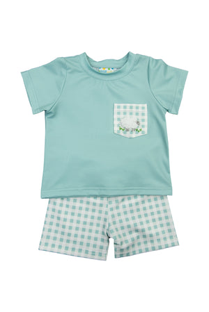 Boys French Knot Lamb Shorts Set