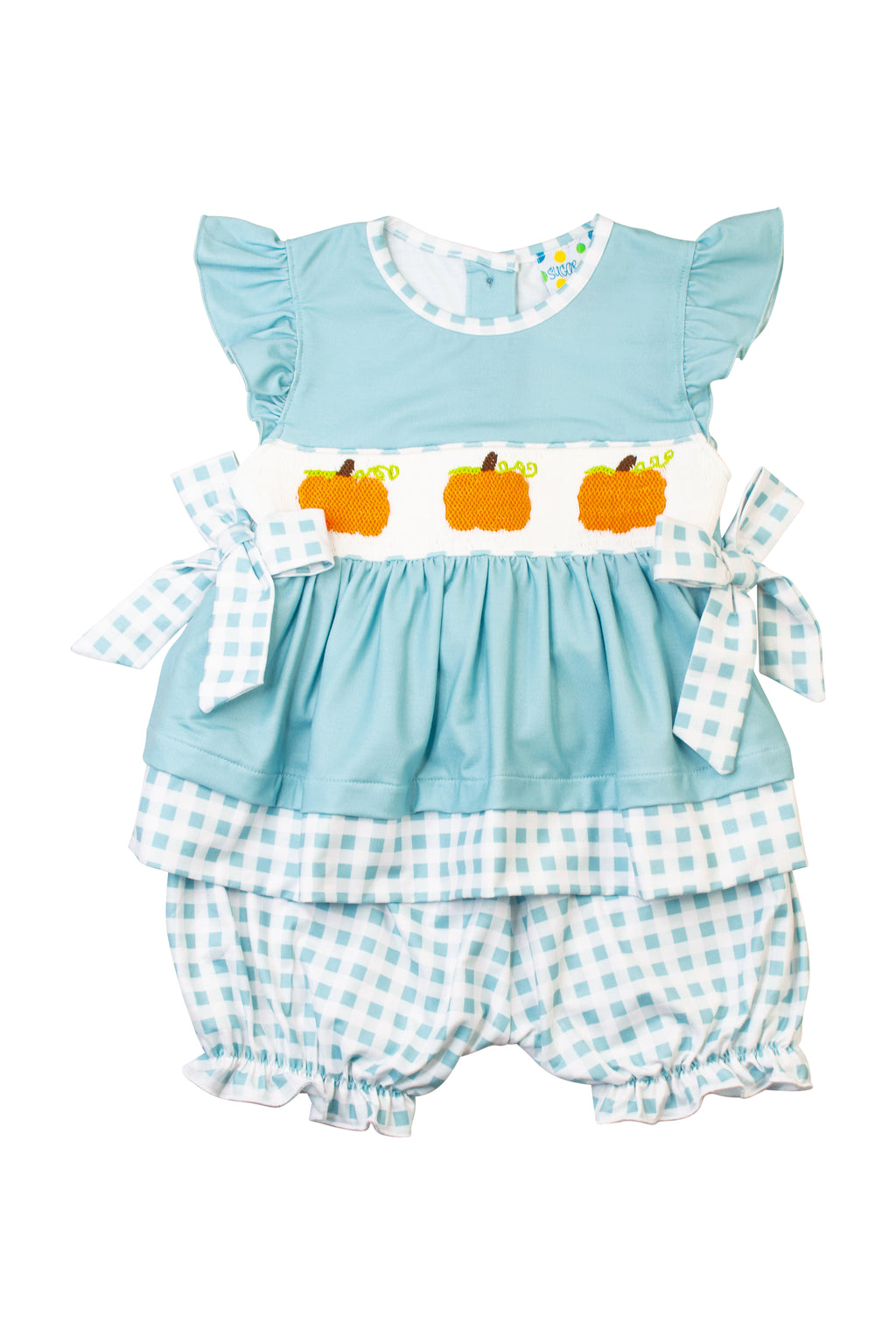 Girls Smocked Pumpkin Bloomer Set