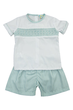 Boys Springtime Geometric Smock Shorts Set