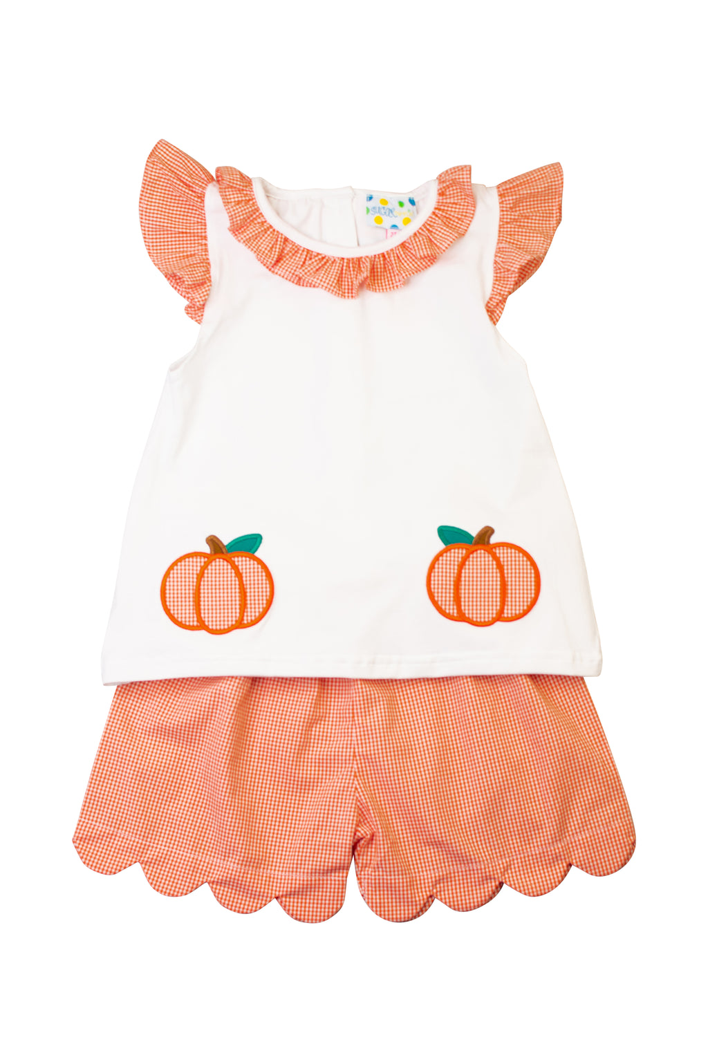 Girls Pumpkin Applique Shorts Set