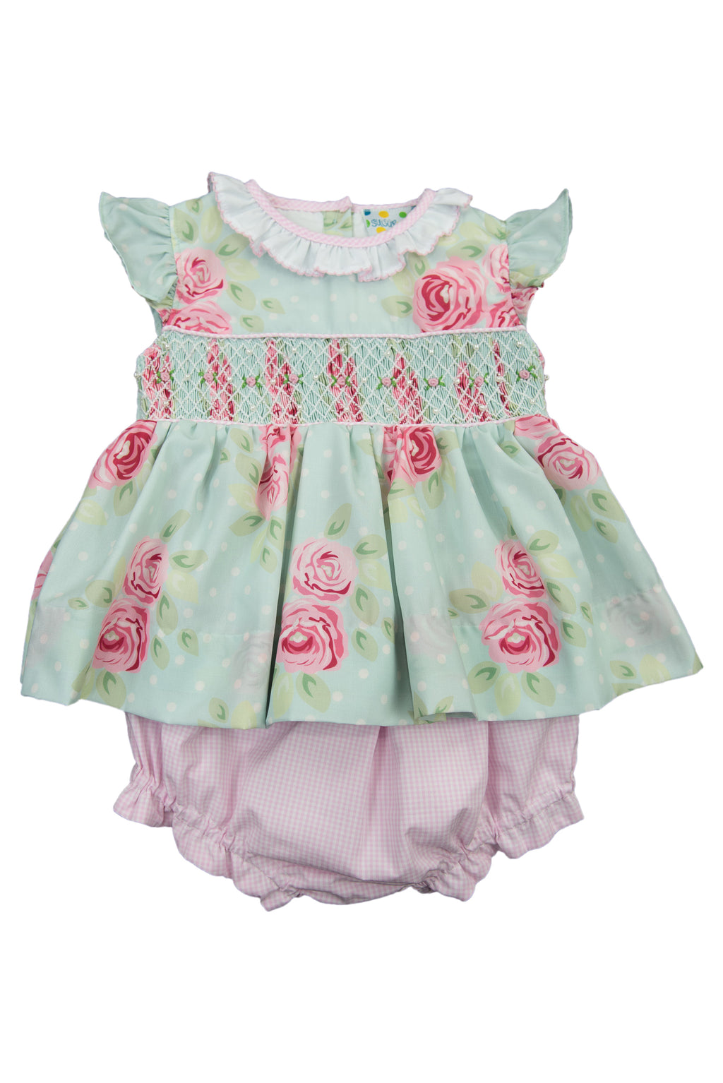 Girls Springtime Geometric Smock Diaper Set