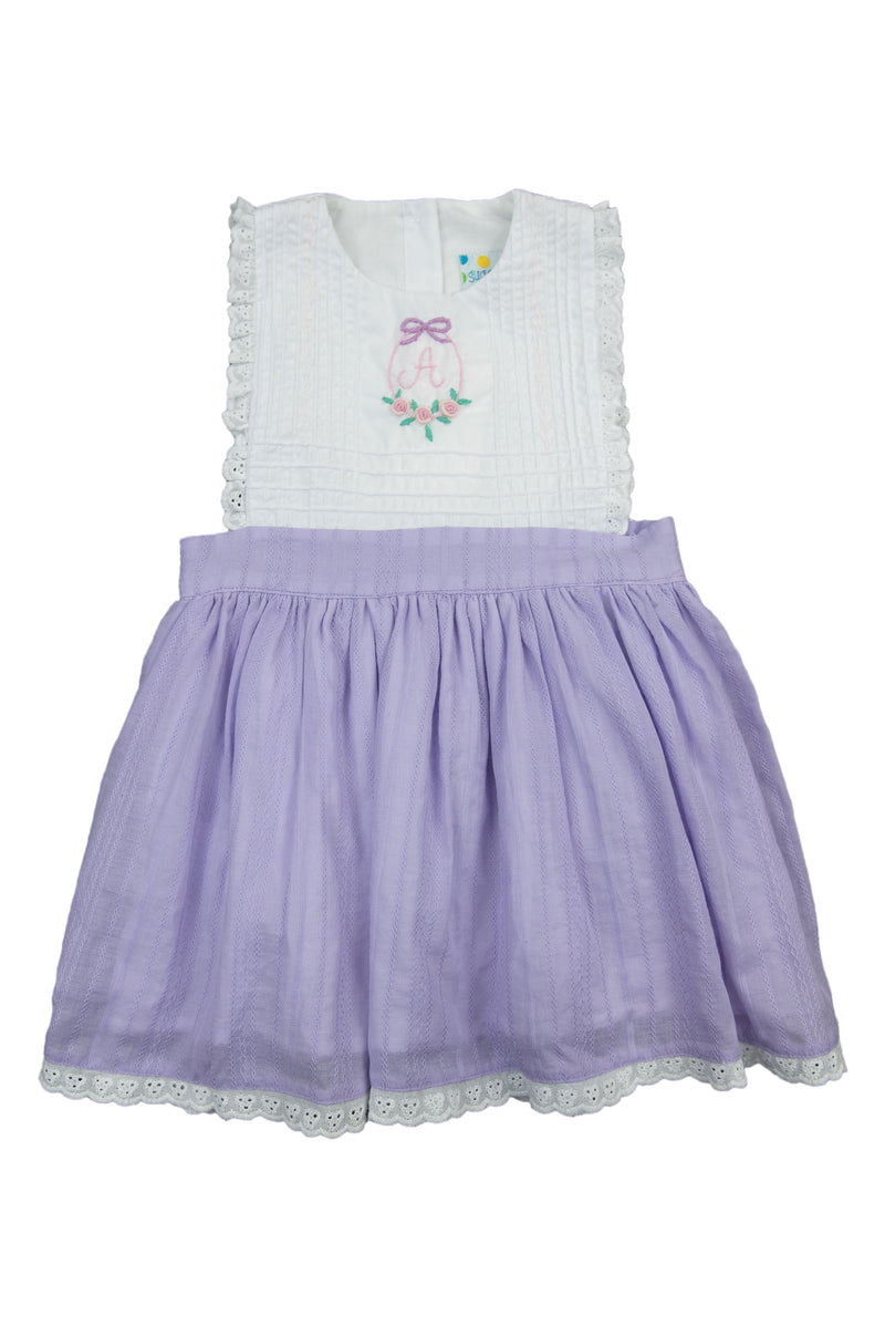 Girls Lavender Linen Initial Wreath Dress