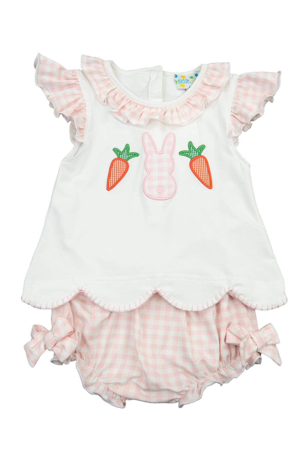 Girls Knit Gingham Bunny Diaper Set