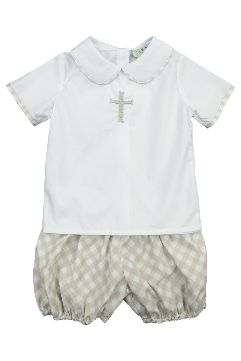 Boys Hand Embroidered Cross Bubble Shorts Set