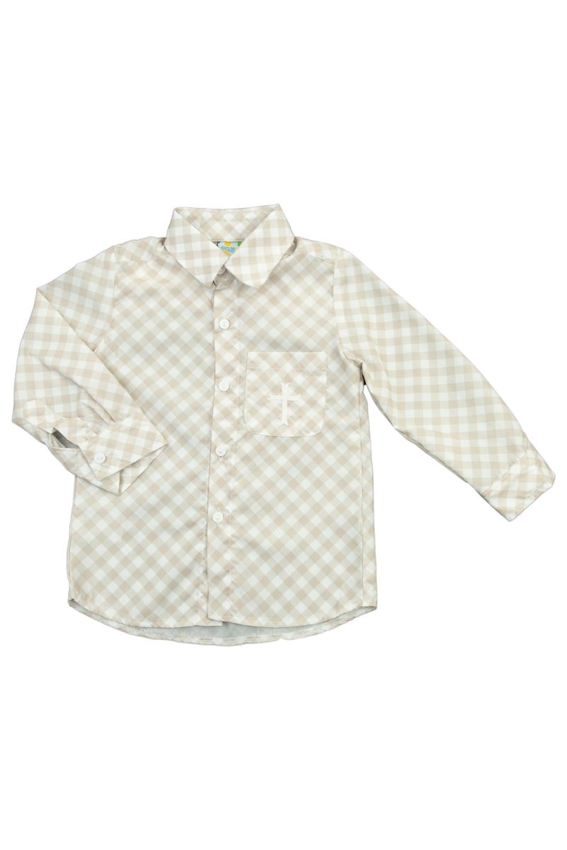 Boys Hand Embroidered Cross Shirt Only