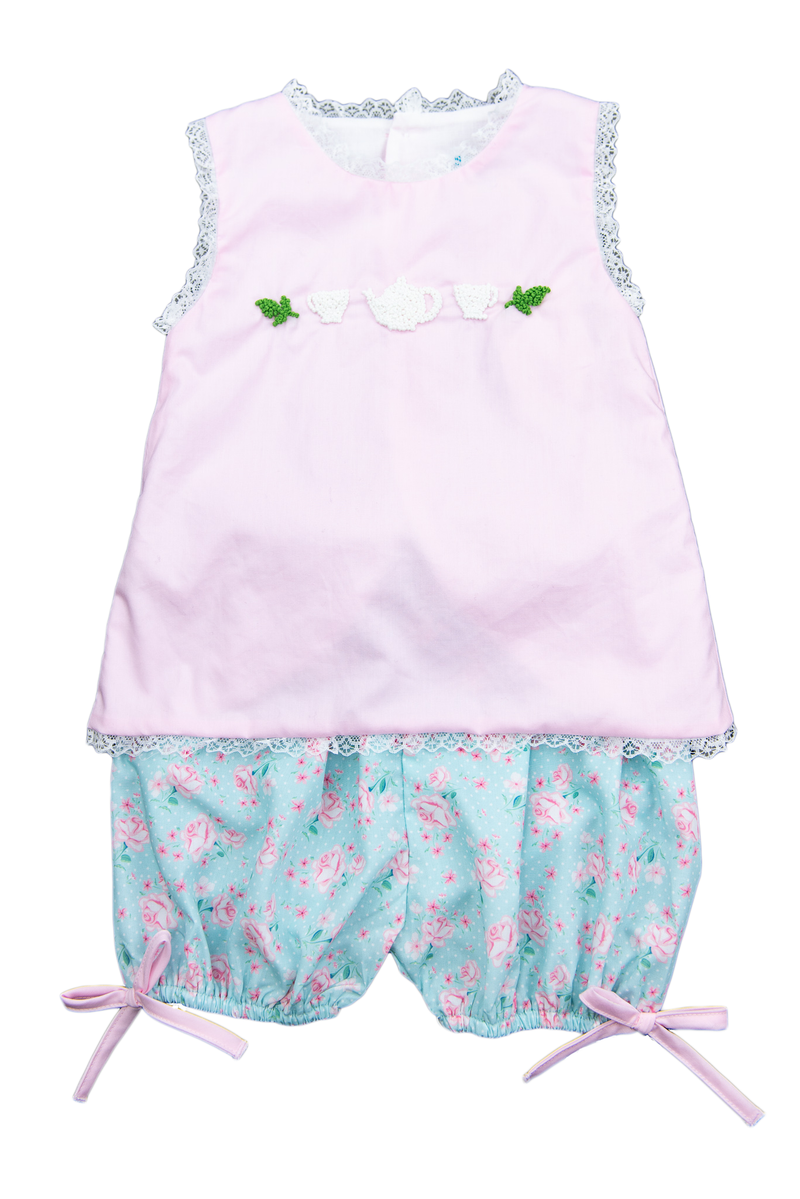 Girls French Knot Tea Party Bloomer Shorts Set