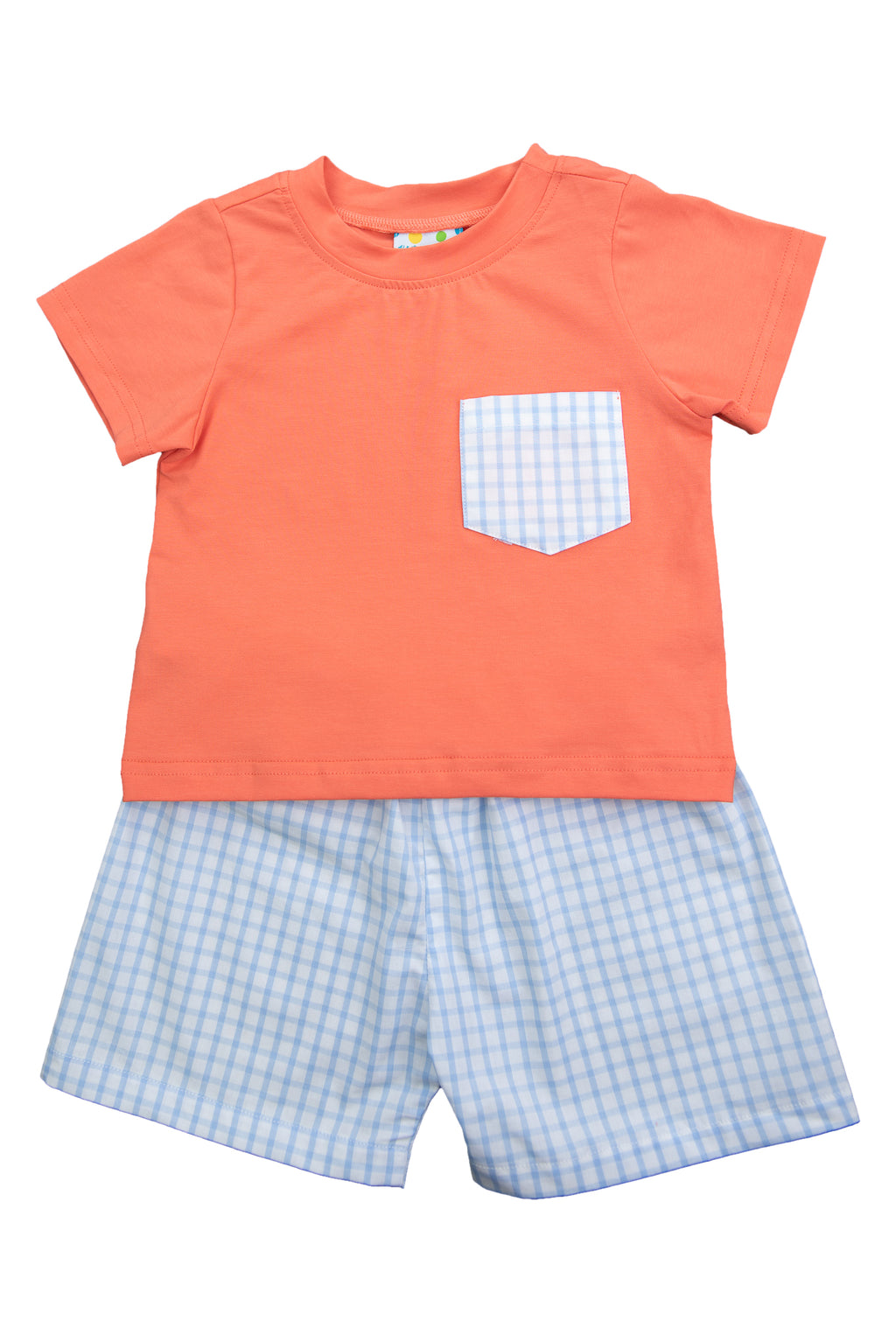 Boys Coral/Blue Check Shorts Set