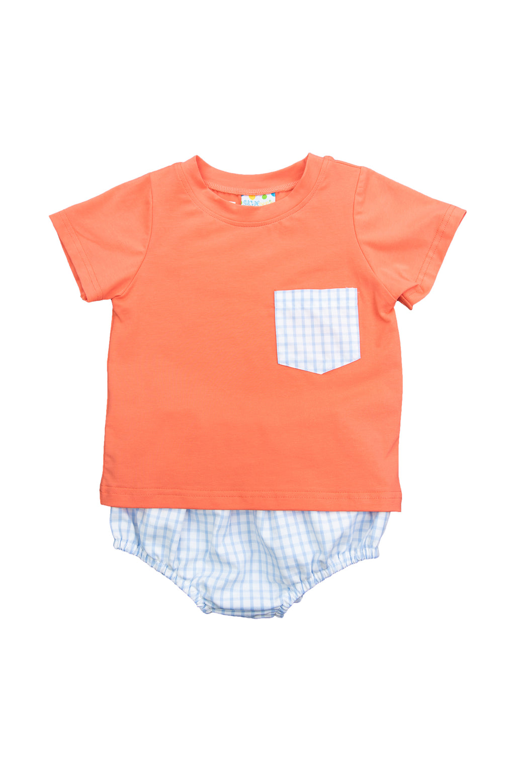 Boys Coral/Blue Check Diaper Set