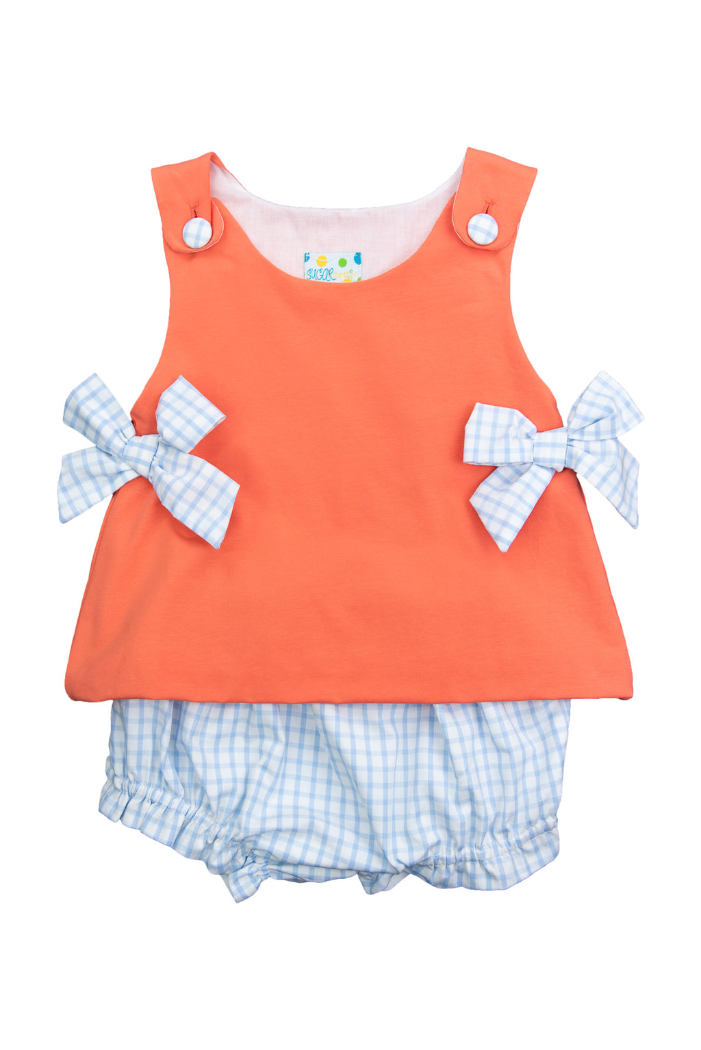 Girls Coral/Blue Check Diaper Set