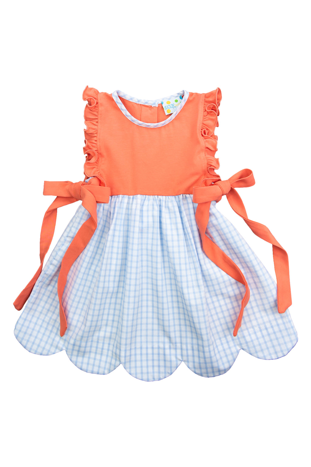 Girls Coral/Blue Check Dress