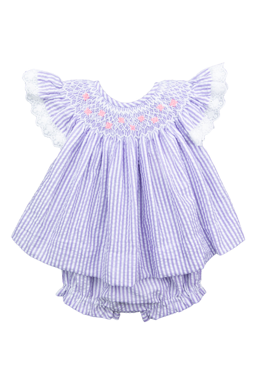 Girls Smocked Butterflies Bloomer Set
