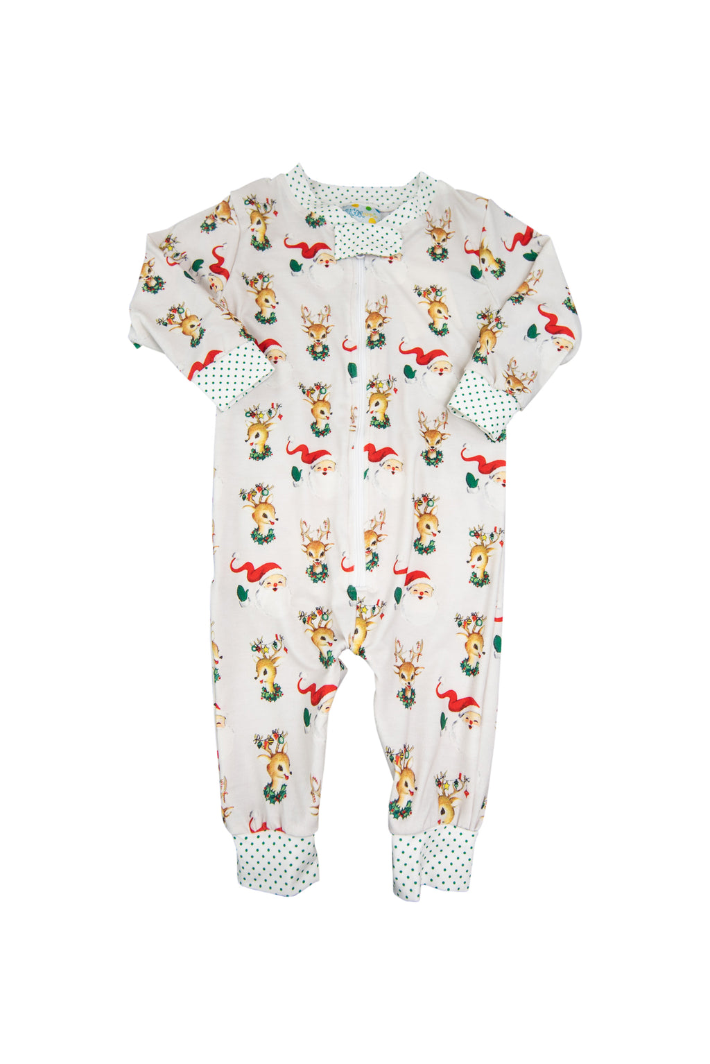 Girls Santa & Rudolph Zip Up Flap PJ