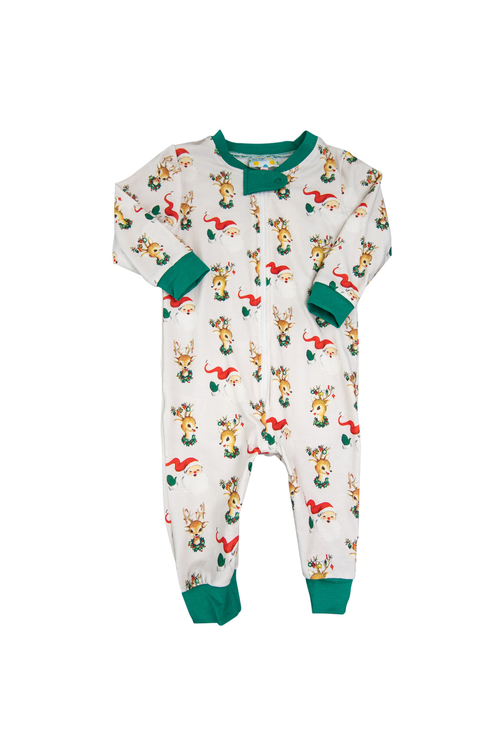 Boys Santa & Rudolph Zip Up Flap PJ
