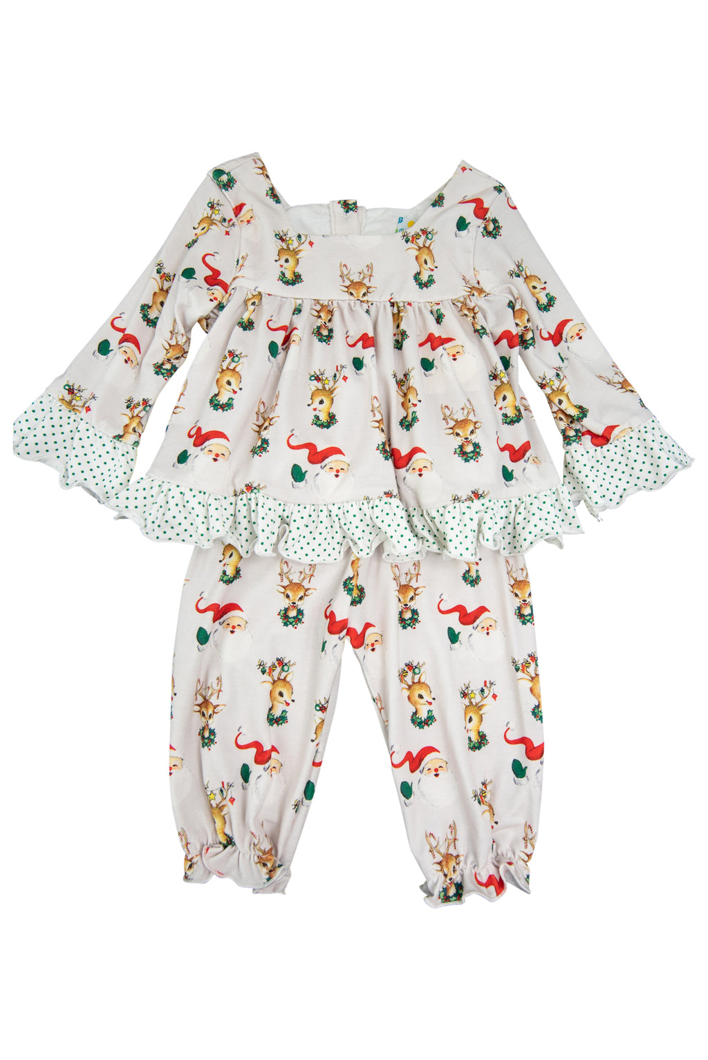 Girls Santa & Rudolph Pajama Pant Set