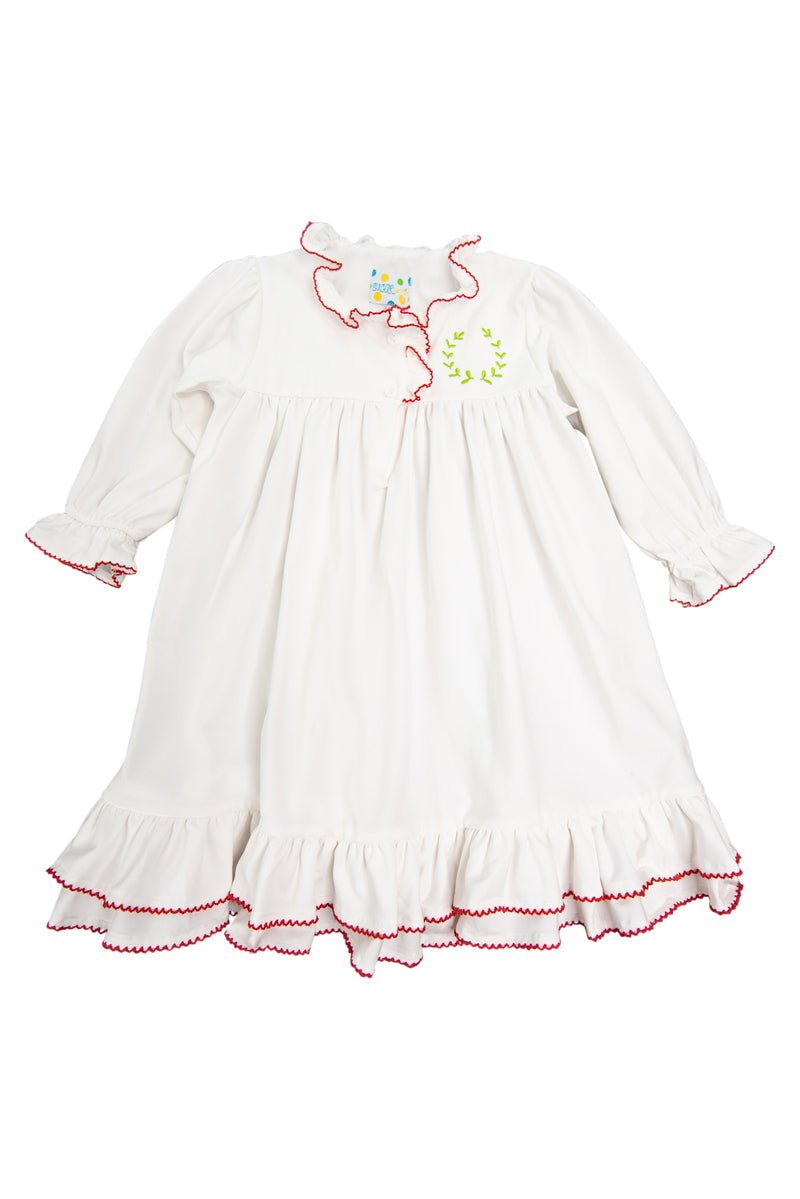 Girls White Knit Ruffle Heirloom Length Nightgown
