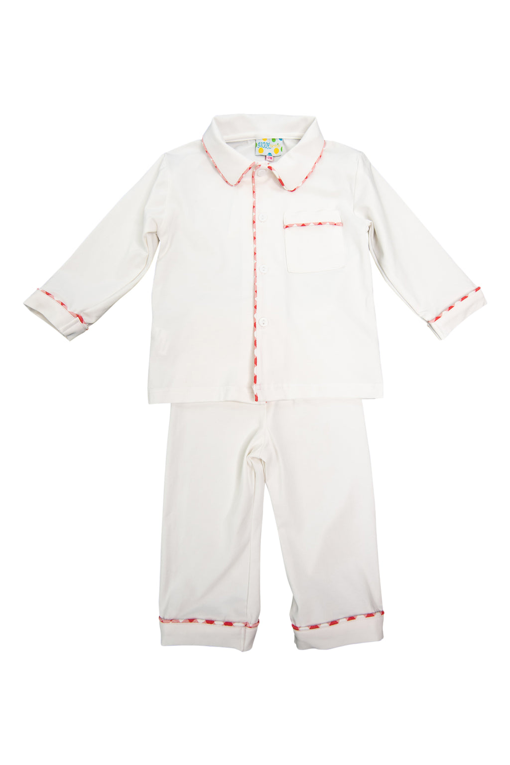 Boys White/Red Check Knit Pajama Pant Set