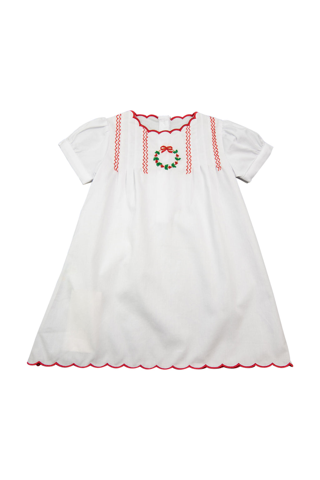 Girls Embroidered Wreath Scalloped Dress