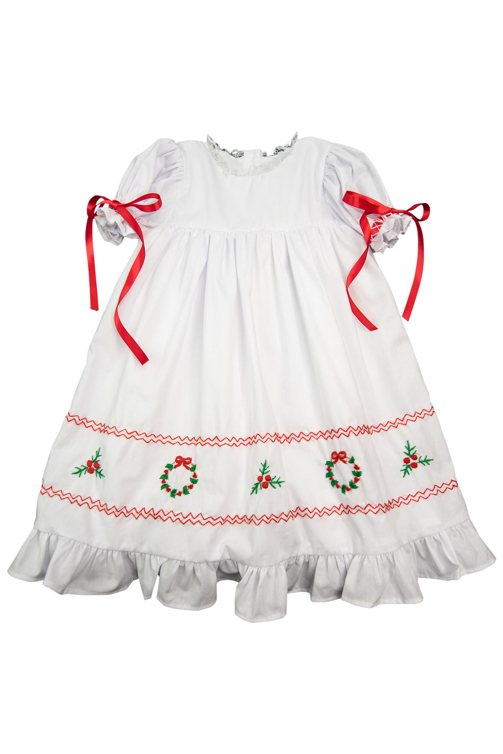 Girls Wreath and Holly Heirloom Length Dress