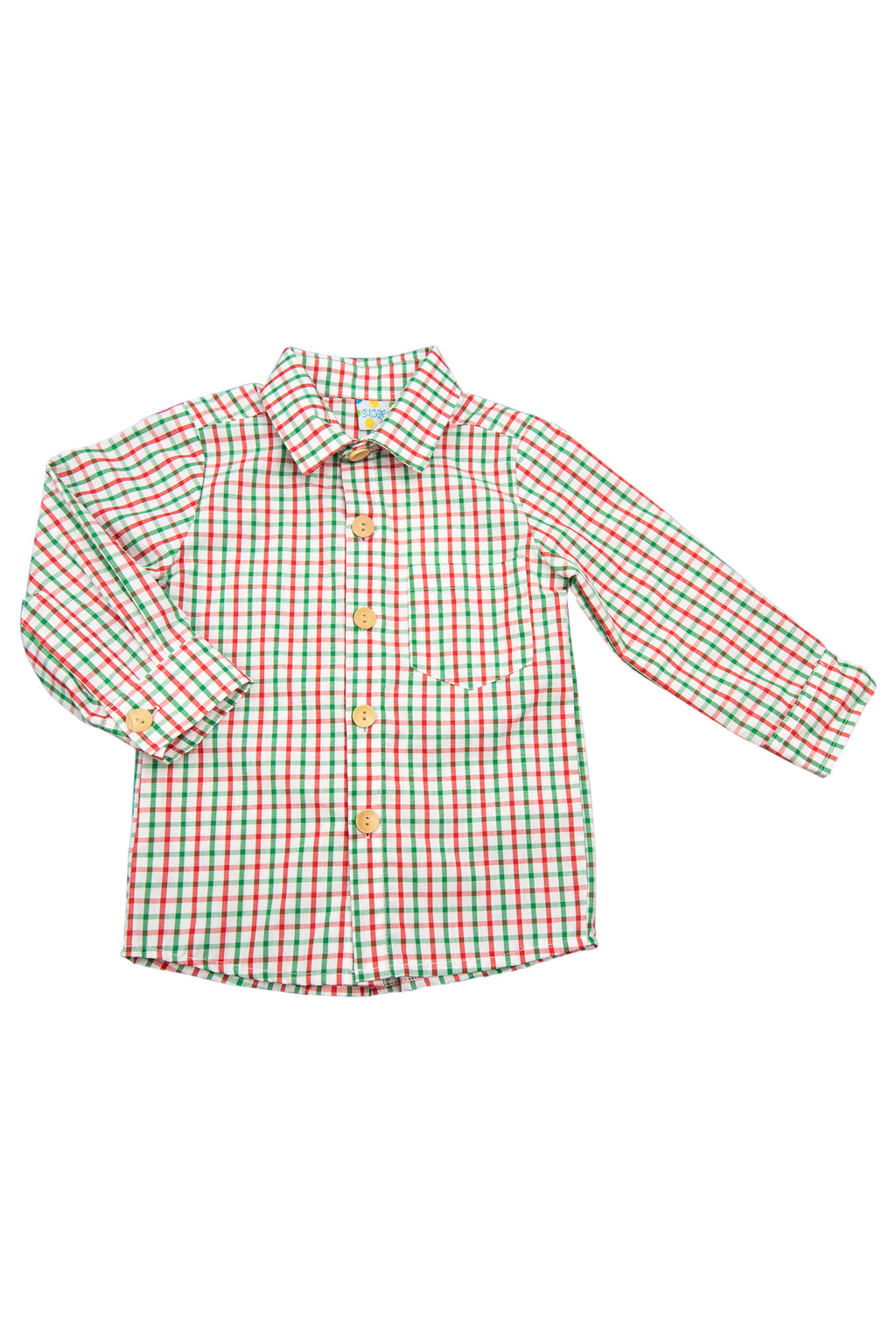 Boys Red and Green Windowpane Shirt Only