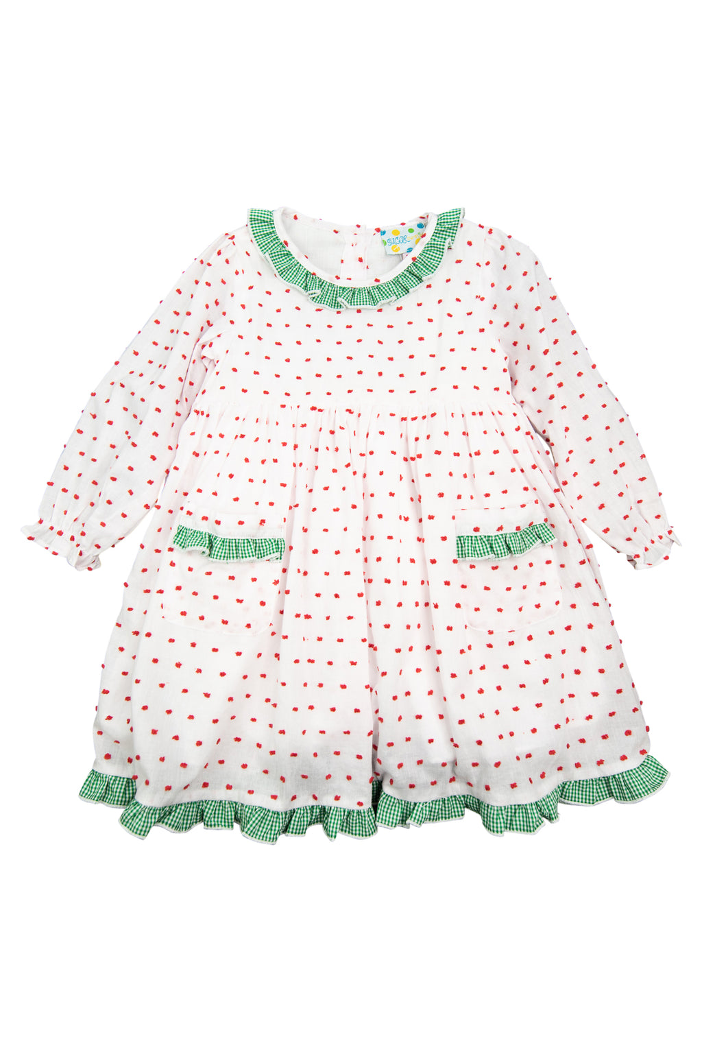 Girls Red Swiss Dot/Green Dress