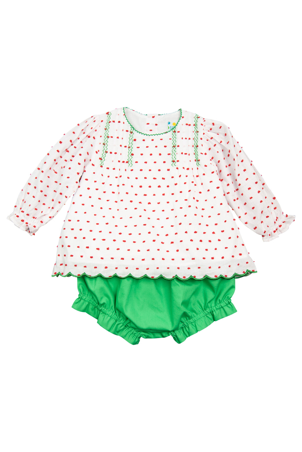 Girls Red Swiss Dot/Green Bloomer Set
