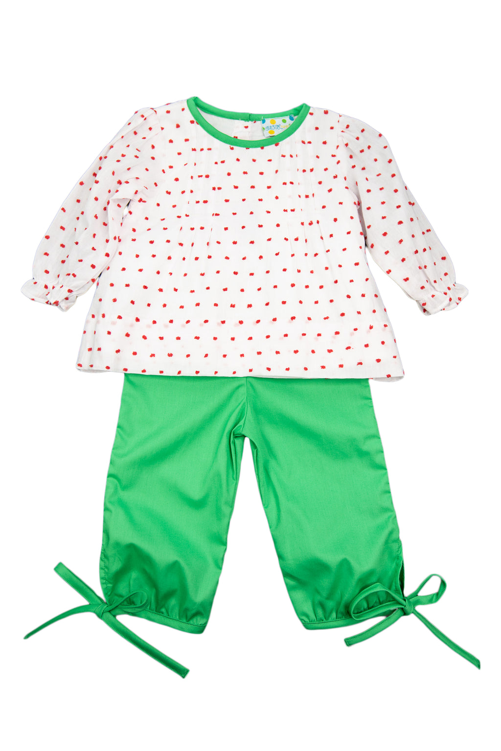 Girls Red Swiss Dot/Green Pants Set