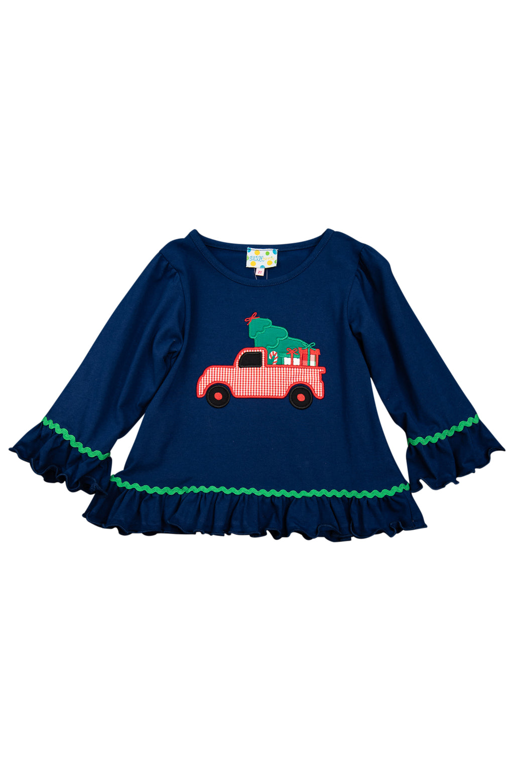 Girls Knit Christmas Tree/Truck Shirt Only