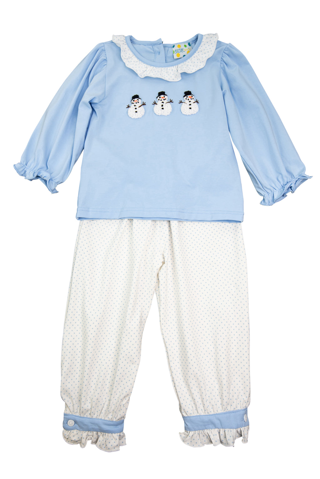 Girls French Knot Snowmen Pants Set