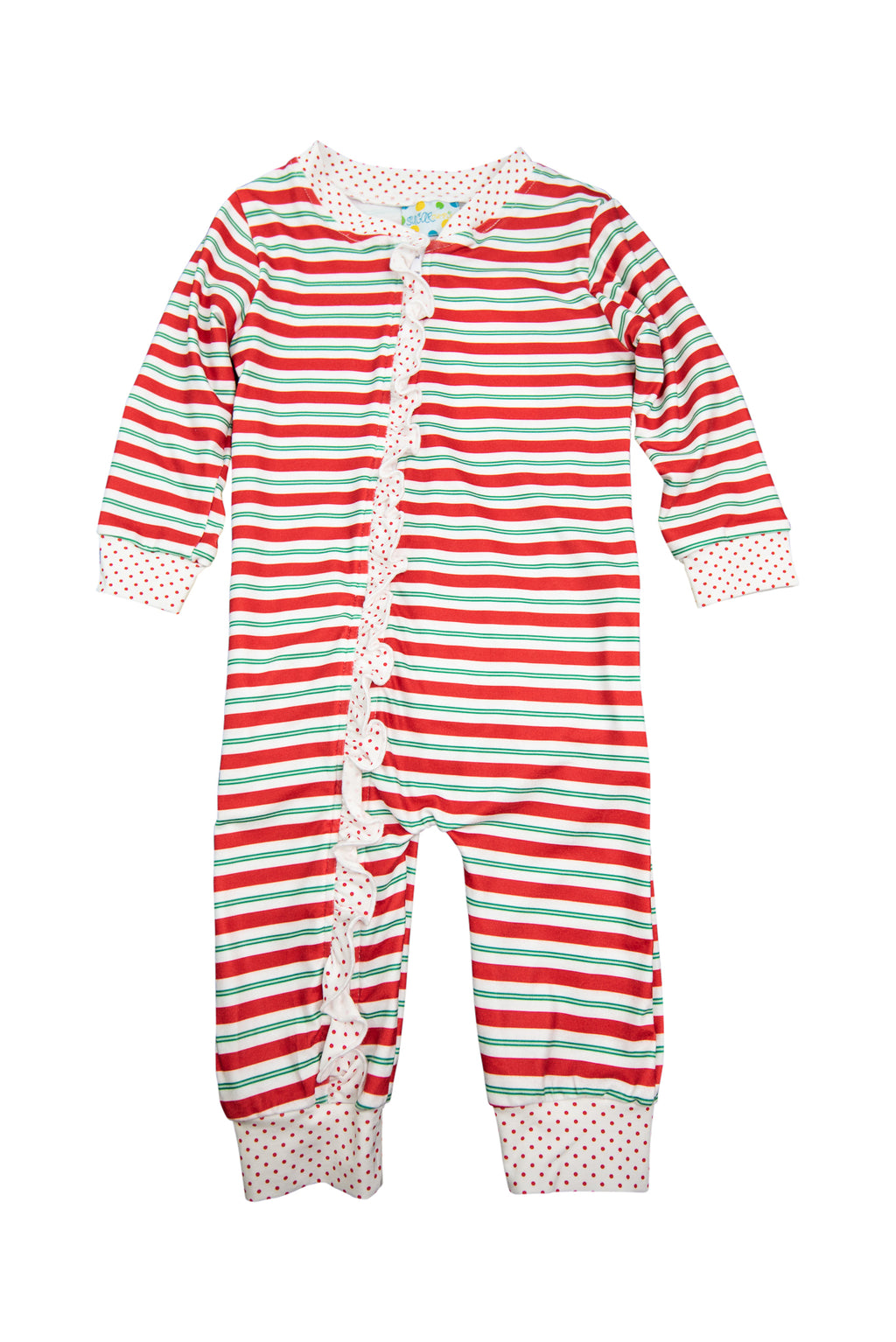 Girls Red/Green Stripe Ruffle Zip Up PJ