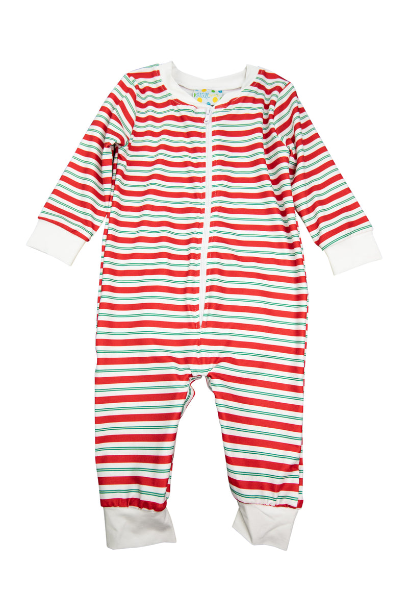 Boys Red/Green Stripe Flap Zip Up PJ