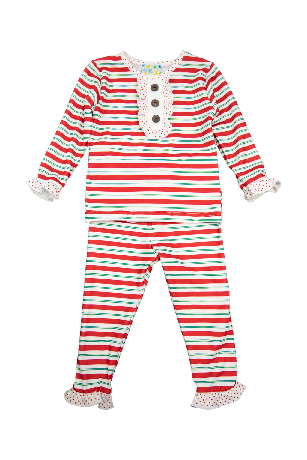 Girls Red/Green Stripe Pajama Pant Set