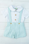Boys Mint Seersucker Overall Shorts Set