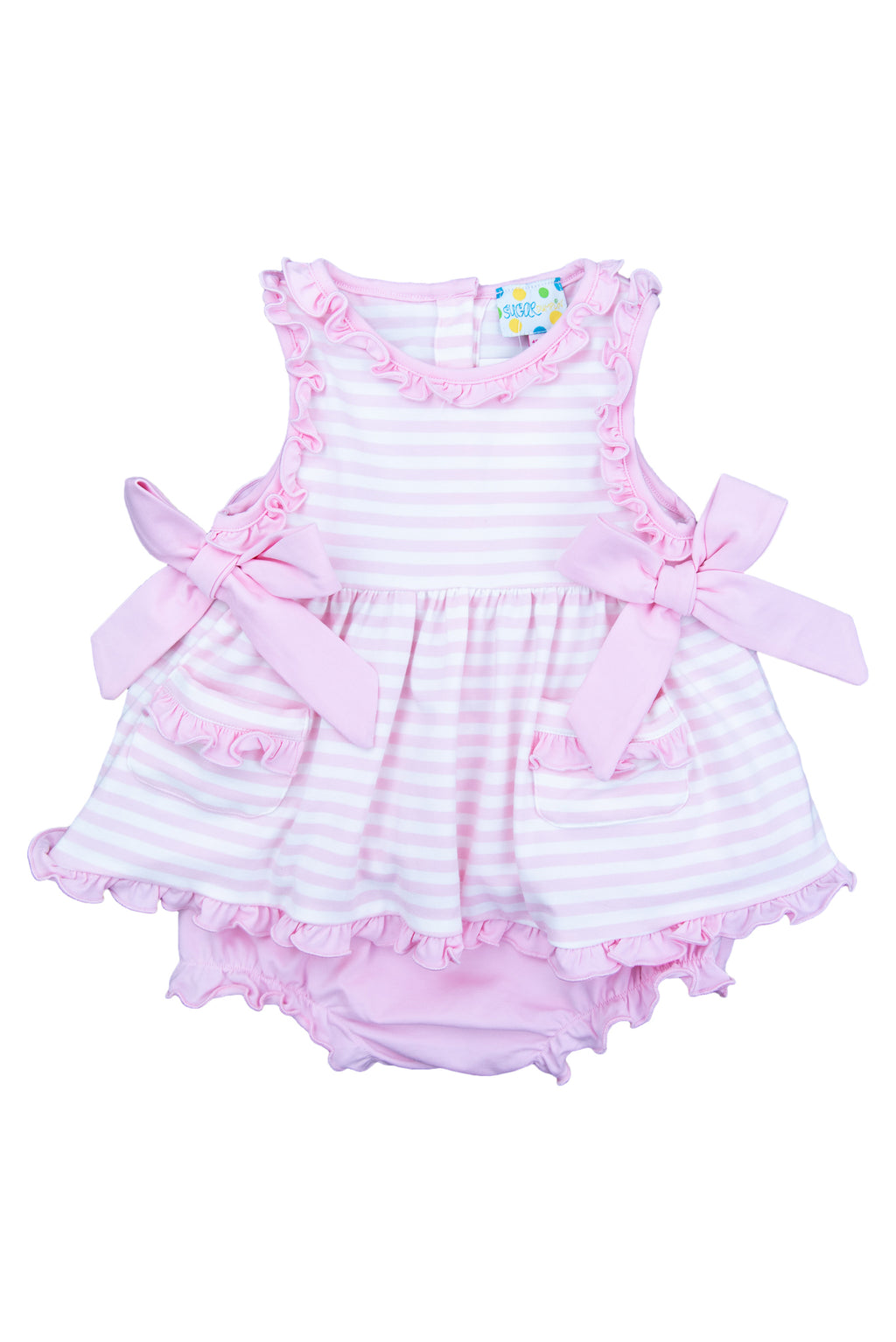 Girls Simple Stripes Ruffle Bloomer Set
