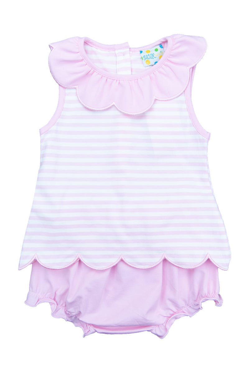 Girls Simple Stripes Bloomer Set