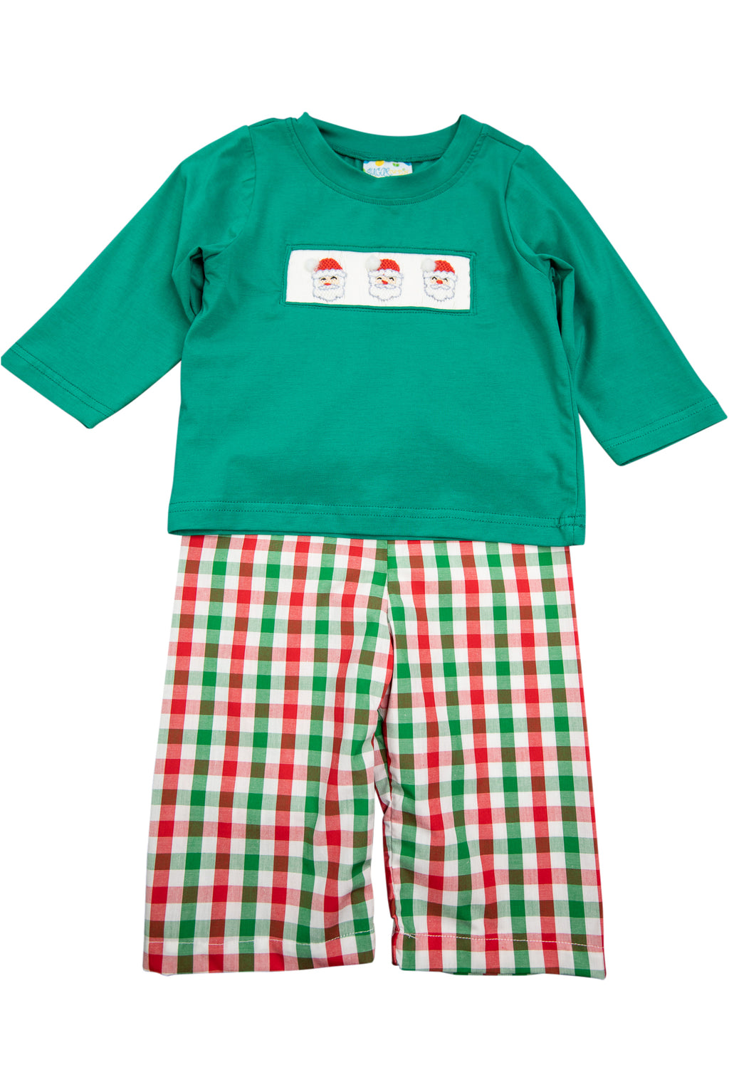 Boys White Smocked Santa Pant Set