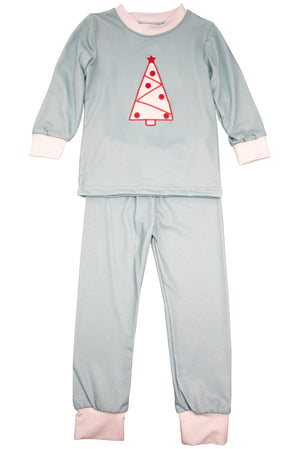 Boys White Christmas Tree Pajama Pant Set