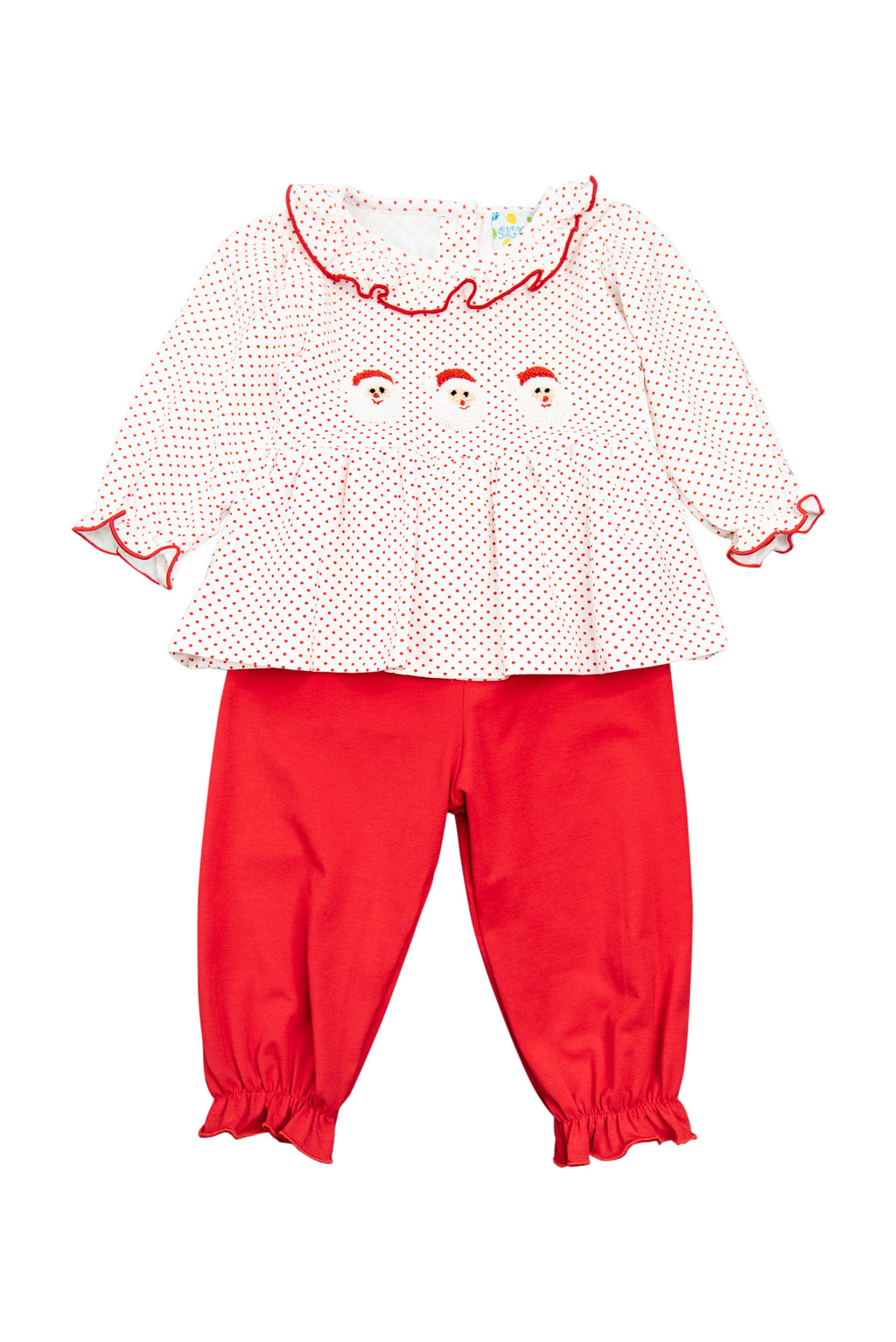 Girls French Knot Santa Pants Set