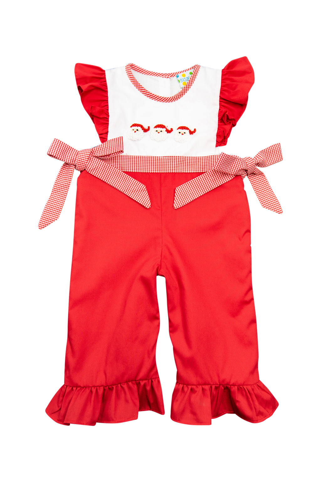 Girls French Knot Santa Romper