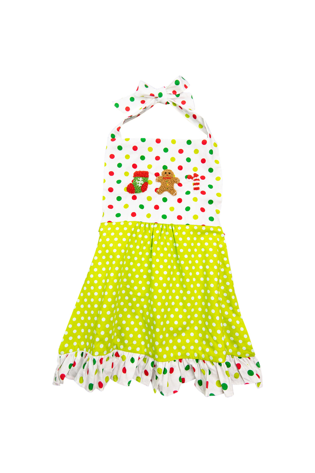 French Knot Polka Dot Christmas Apron