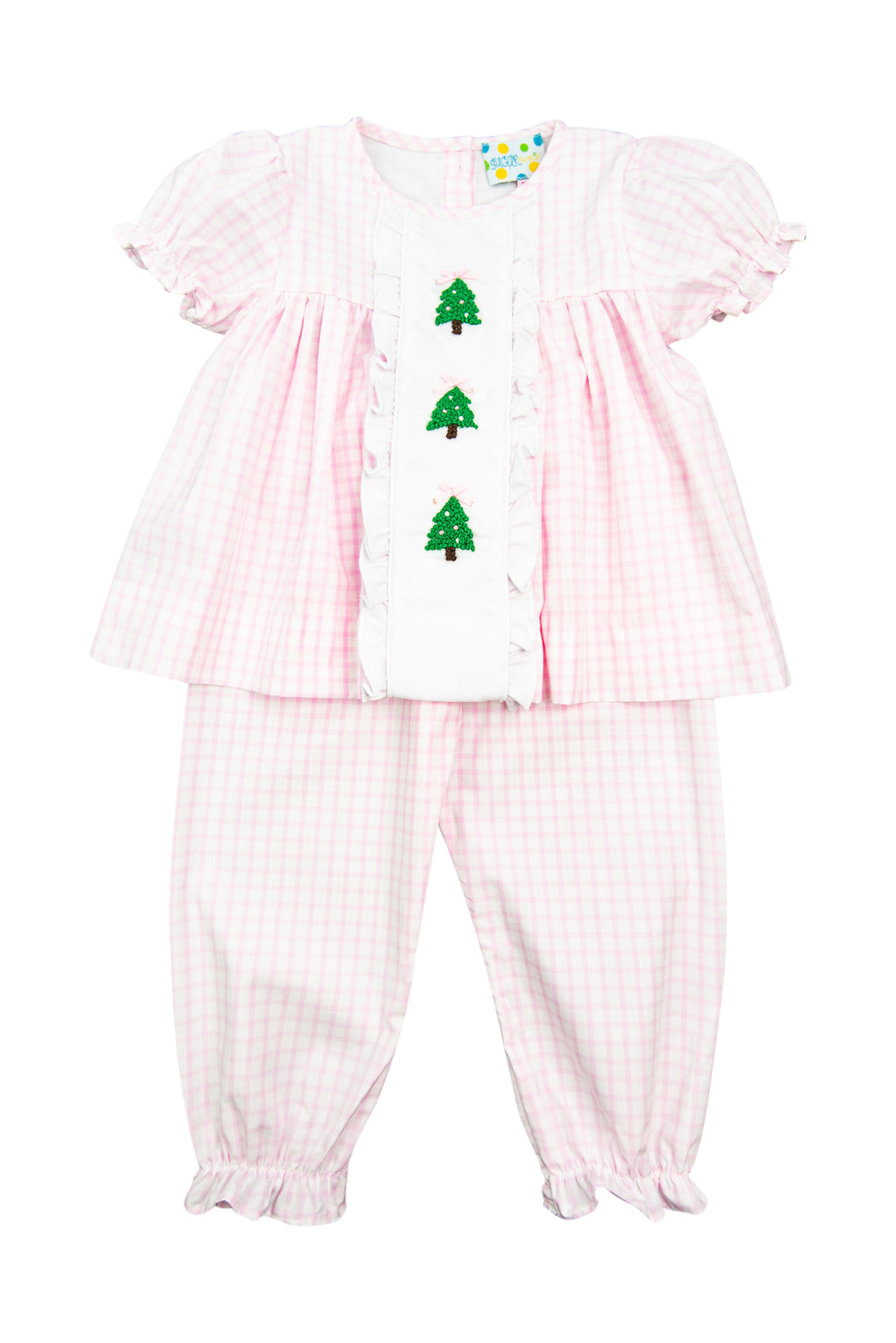 Girls French Knot Christmas Tree Pant Set