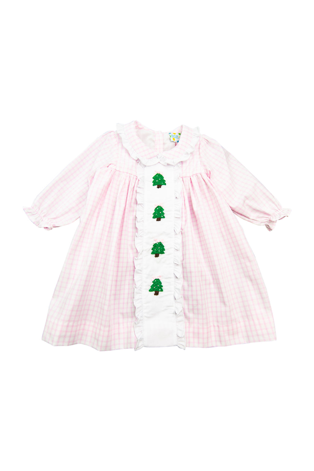 Girls French Knot Christmas Tree Dress