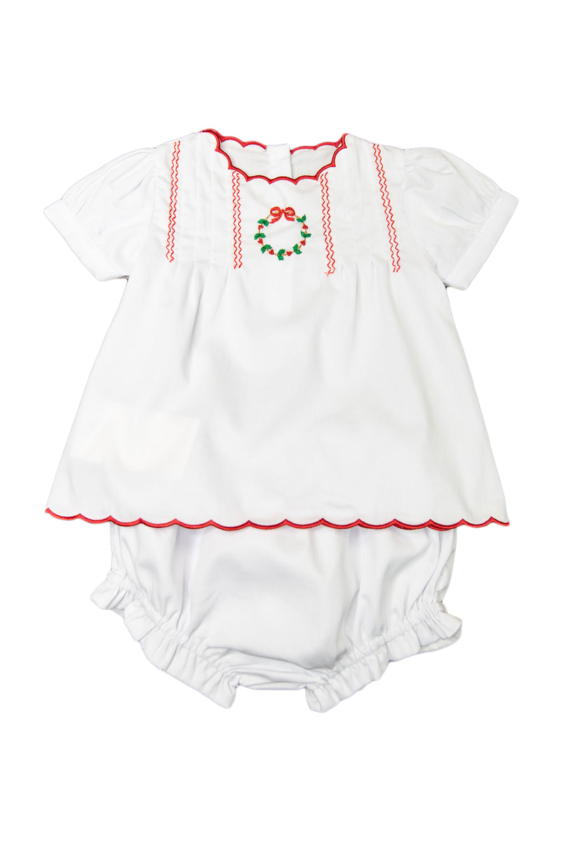 Girls Embroidered Wreath Bloomer Set